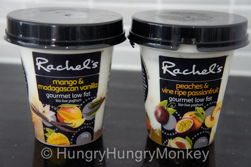 Mango & Madagascan vanilla, 150g tubs and peaches & vine ripe passionfruit, 150g tubs